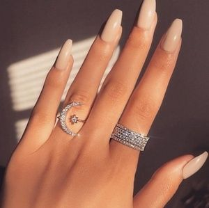 Top Seller Sparkly Crescent Moon & Star Ring